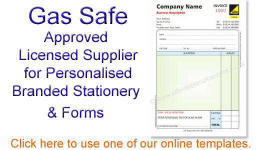 Personalised Gas Safe Branded Stationery